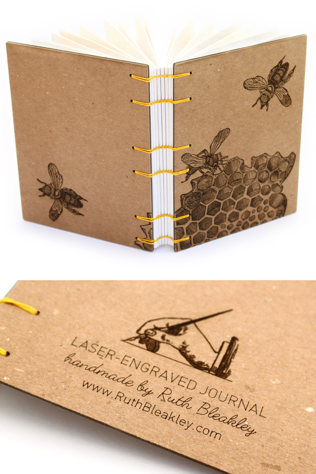 Honeybee Journal with laser engraved cover