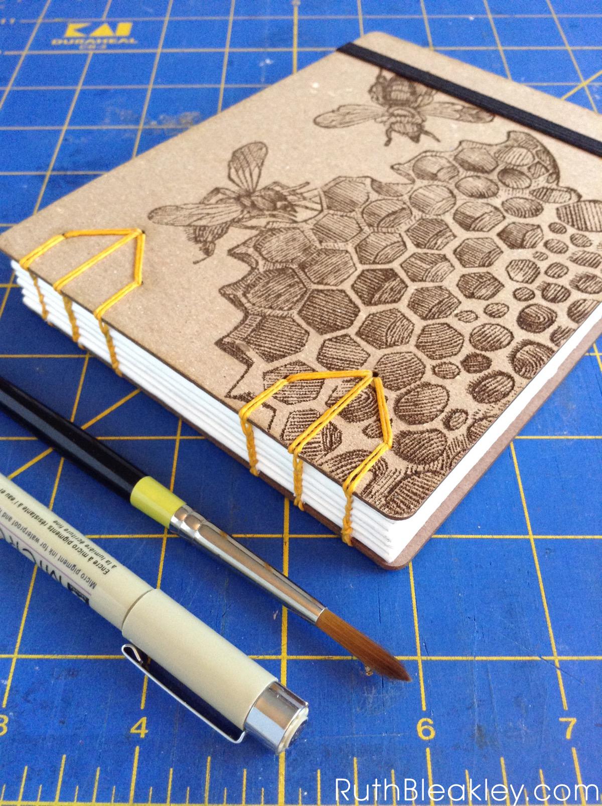 Honeybee Watercolor Sketchbook handmade by Ruth Bleakley with laser engraved cover - beekeeper gifts