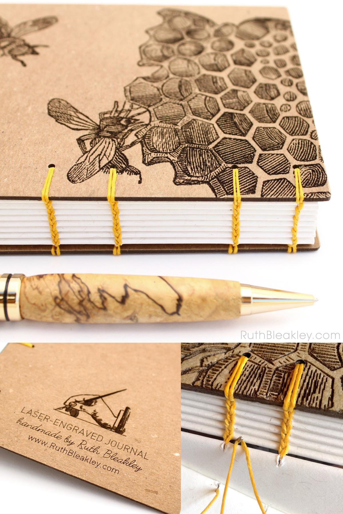 Beekeeper Gift - Unlined Honeybee Journal handmade by Ruth Bleakley