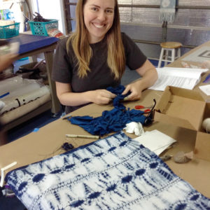 Ruth Bleakley learning Shibori Tie Dye at Aya Fiber Studio - Indigo fiber workshop in Stuart Florida - 2