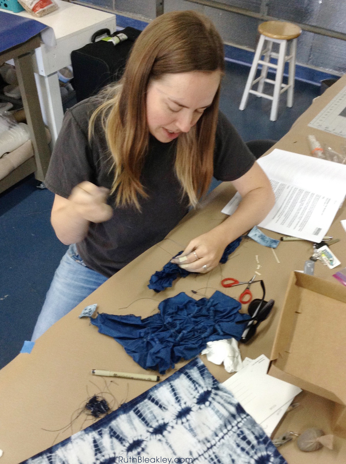 Ruth Bleakley learning Shibori Tie Dye at Aya Fiber Studio - Indigo fiber workshop in Stuart Florida - 4