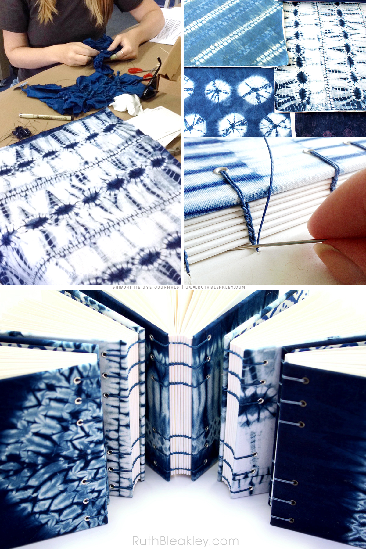 Shibori Tie Dye Journals made by Florida book artist Ruth Bleakley