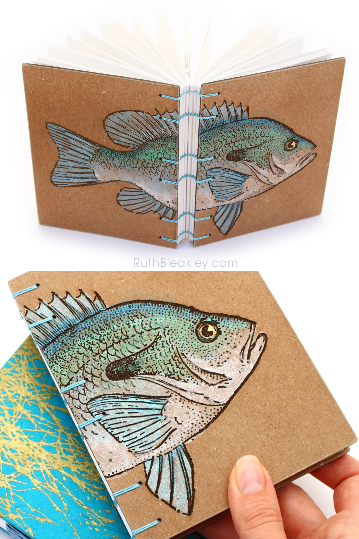 Fish Journal hand bound and hand painted by Ruth Bleakley