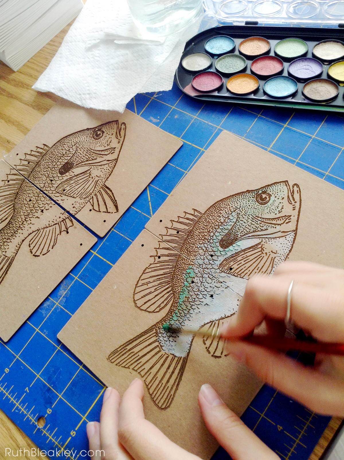 Hand Painted Fish Journal by book artist Ruth Bleakley - progress 1