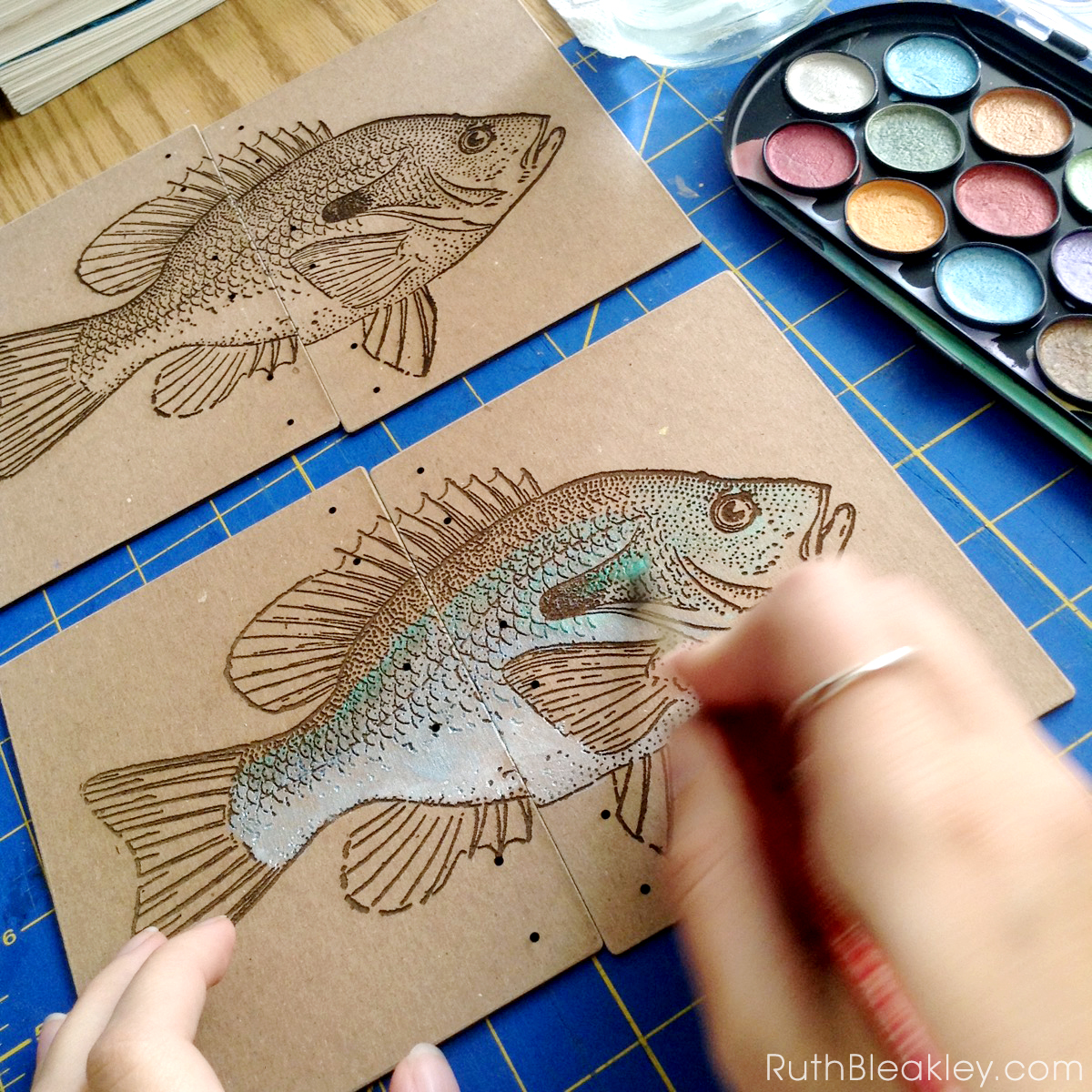 Hand Painted Fish Journal by book artist Ruth Bleakley - progress 2