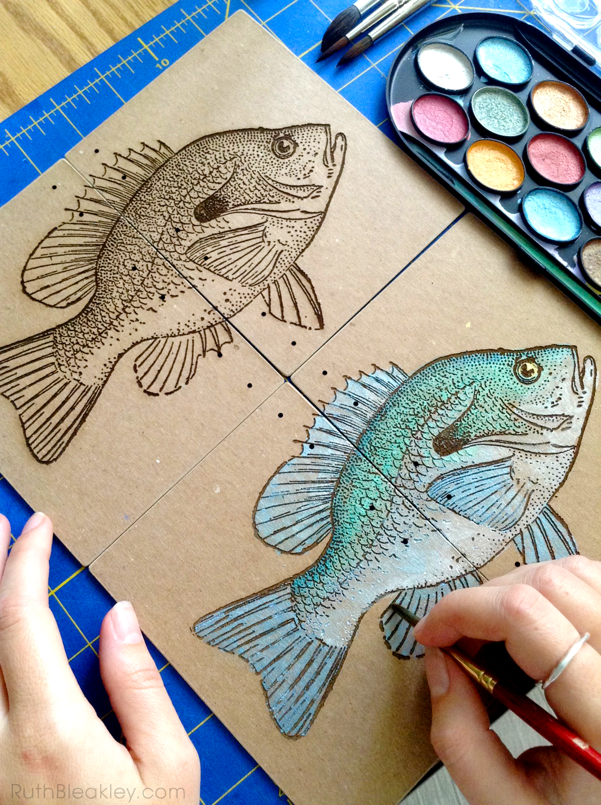 Hand Painted Fish Journal by book artist Ruth Bleakley - progress 3