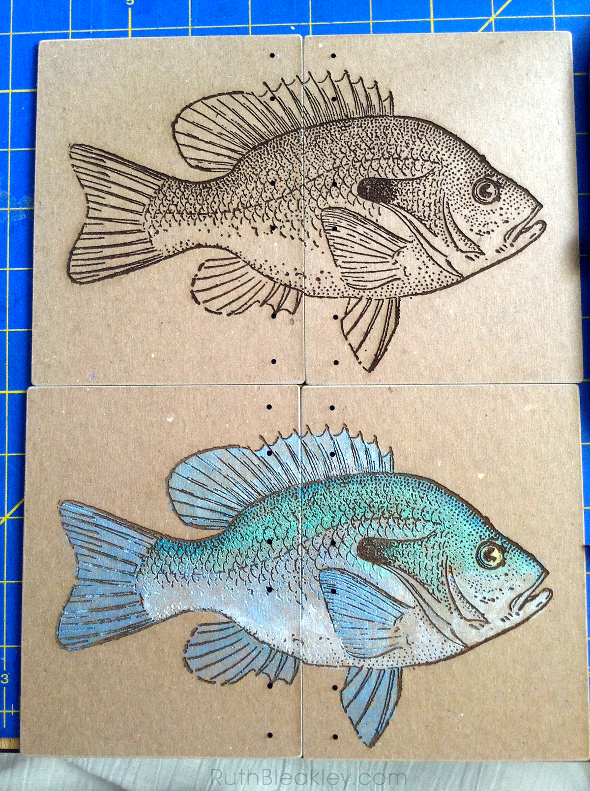 Hand Painted Fish Journal by book artist Ruth Bleakley - before and after
