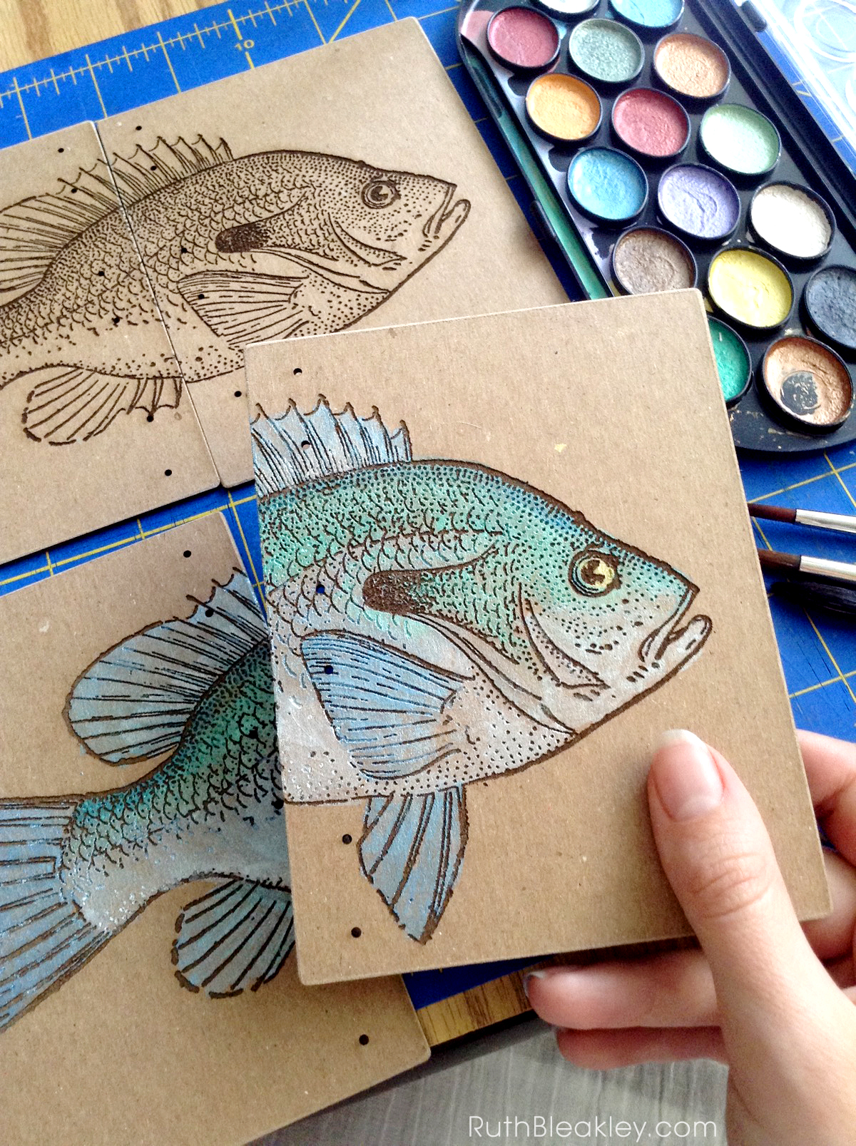 Hand Painted Fish Journal by book artist Ruth Bleakley - progress 4