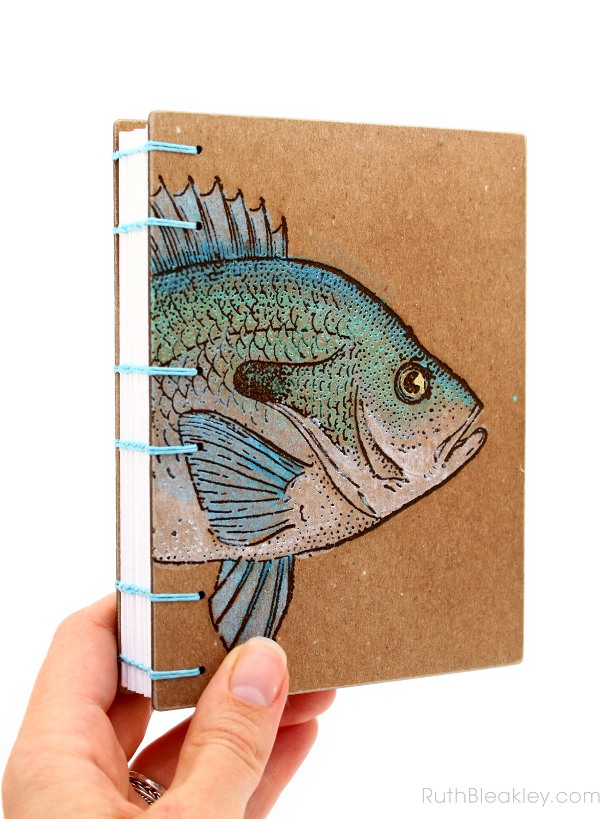 Hand Painted Fish Journal - handmade by Florida Book Artist Ruth Bleakley