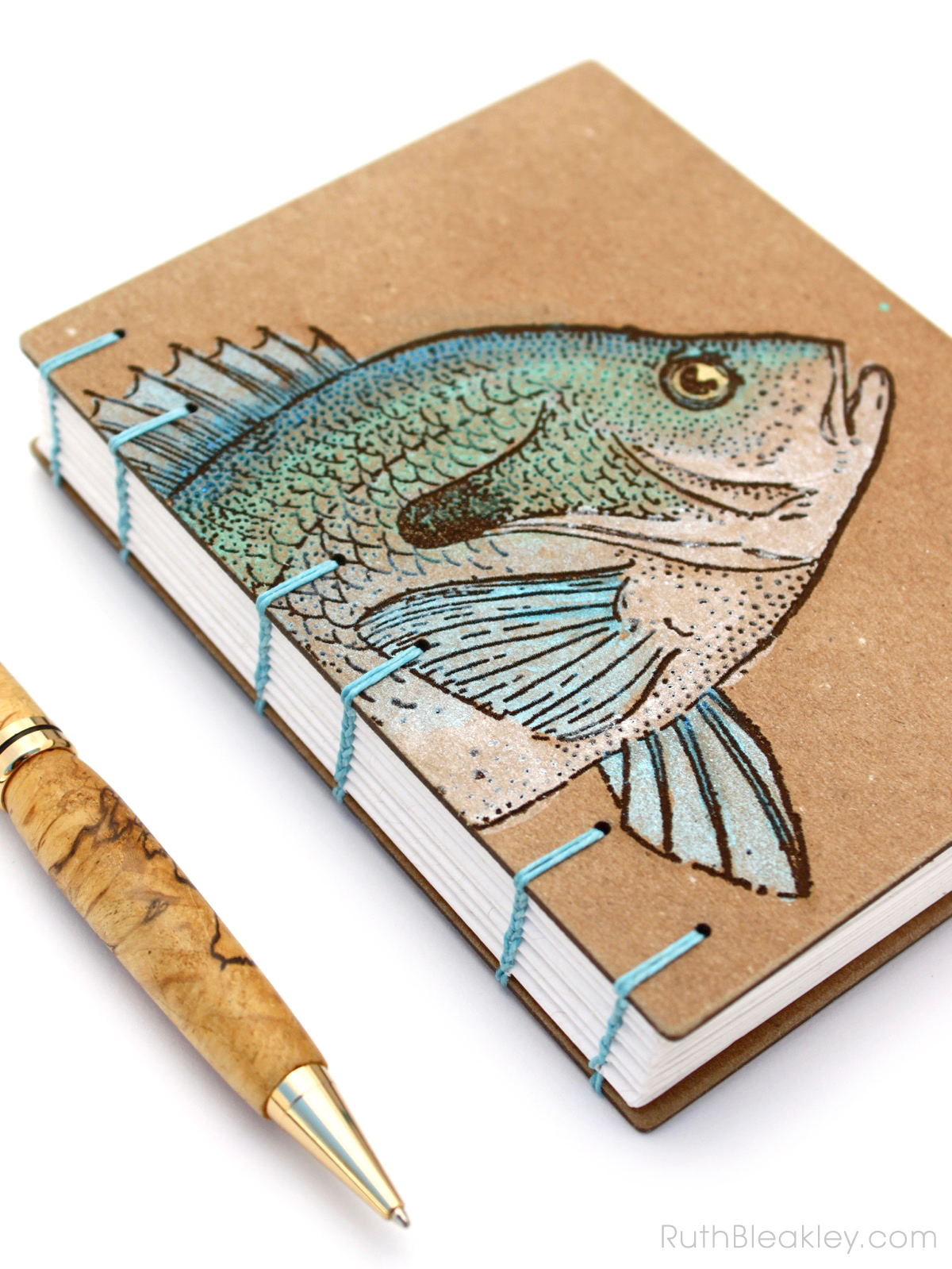 Fish Journal - Hand Painted by Book Artist Ruth Bleakley - 2