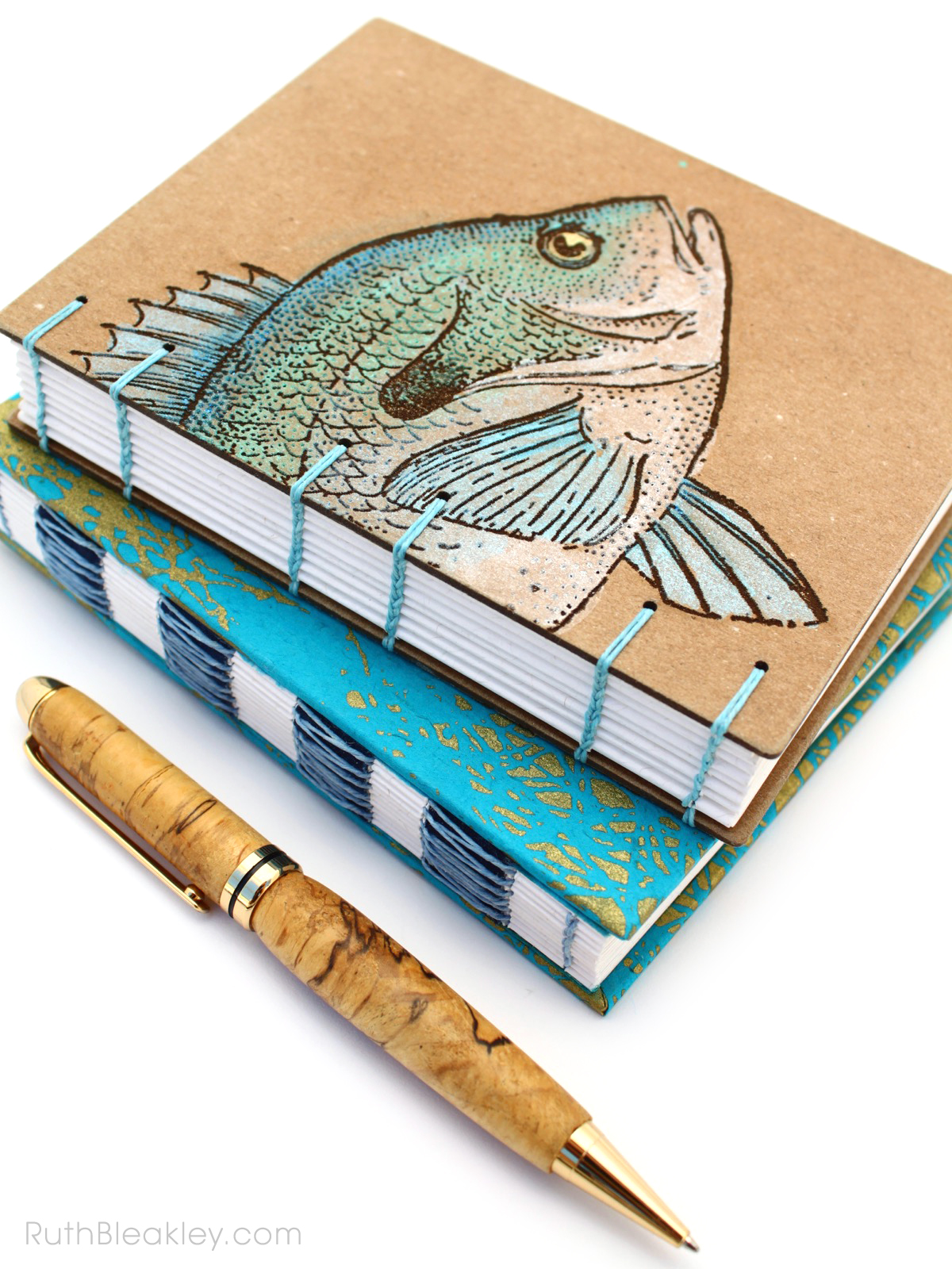 Handmade Journals by Florida Book Artist Ruth Bleakley who paints and sews them
