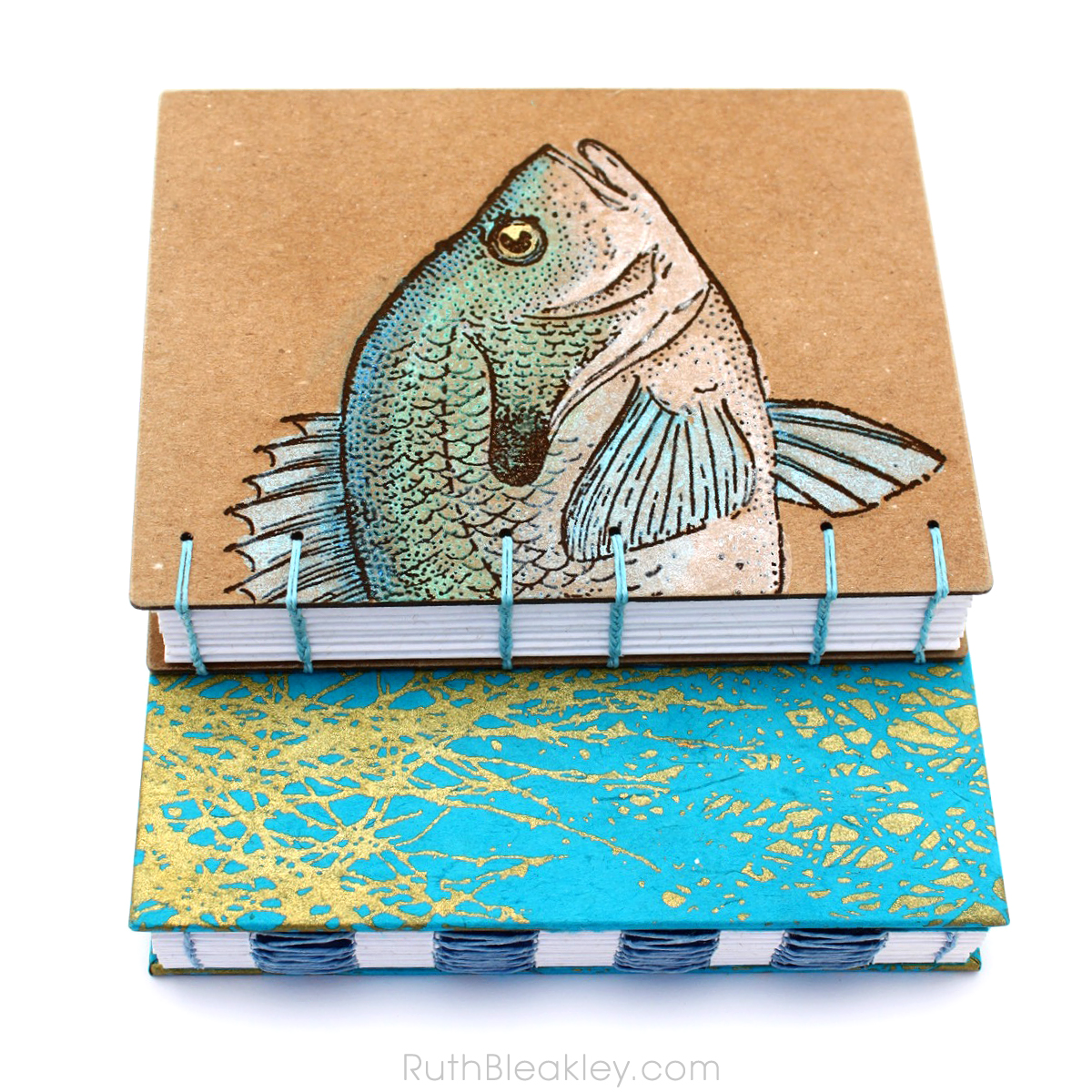 Two Journals handmade by Florida bookbinder Ruth Bleakley - fish and aqua branches