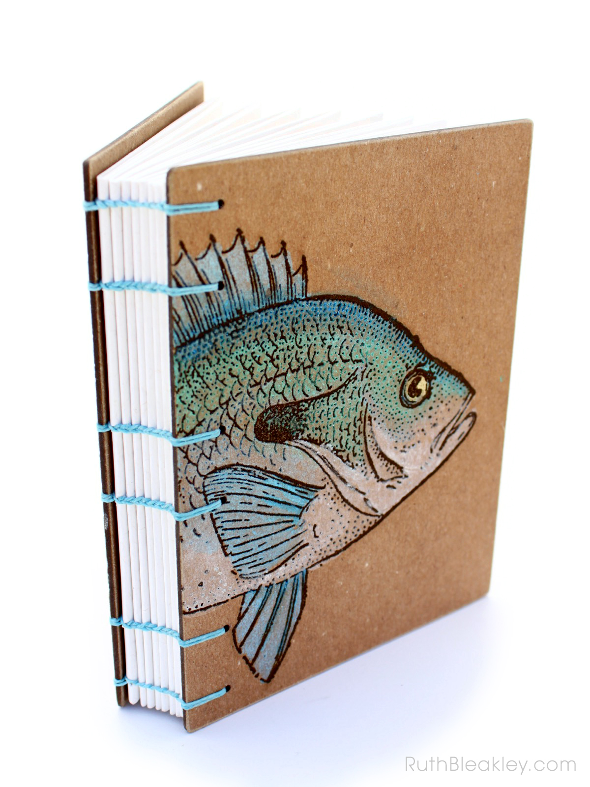 Unique Hand Painted Fish Journal made from Recycled materials