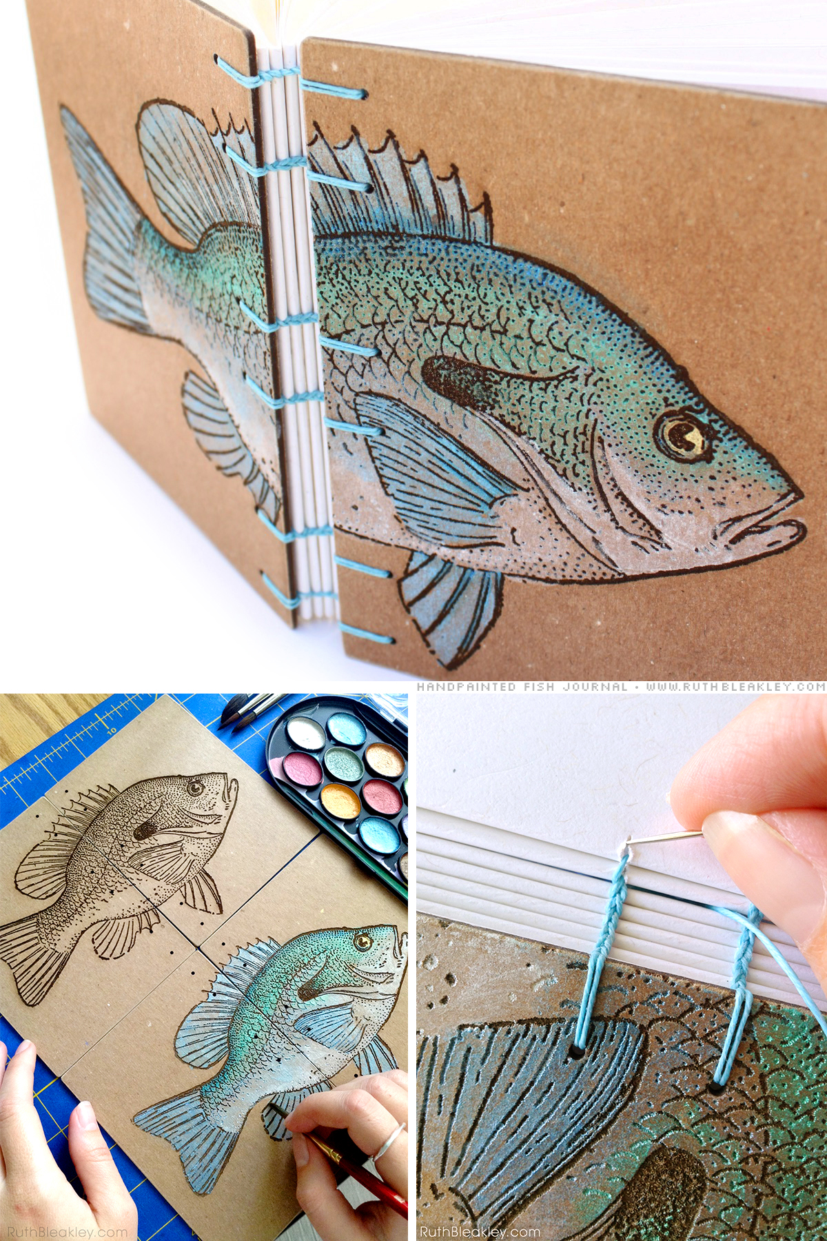 Hand painted Fish Journal made by Book Artist Ruth Bleakley