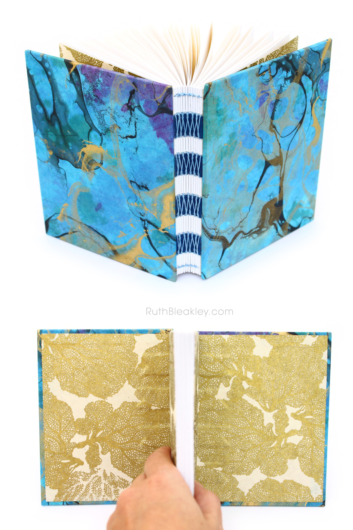 Blue-Marbled-French-Link-Journal-made-by-Ruth-Bleakley