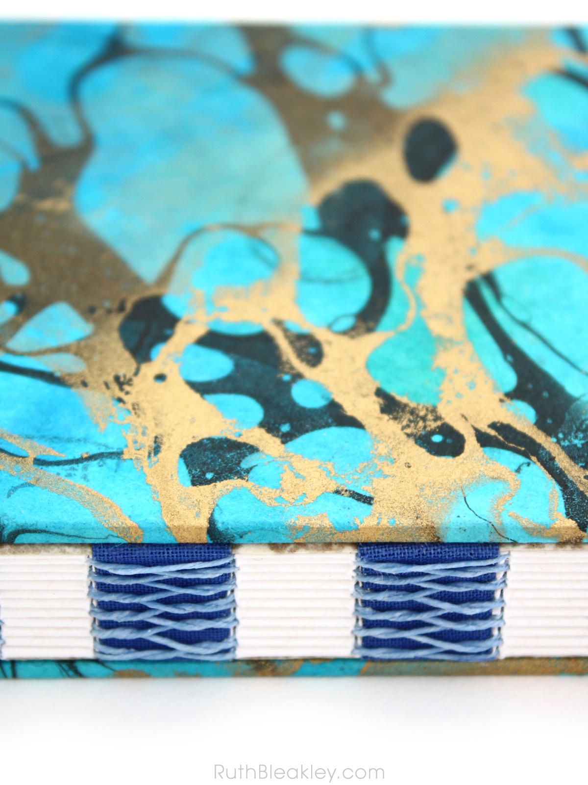 Blue and Gold Marbled Unlined Journal by book artist Ruth Bleakley - 13