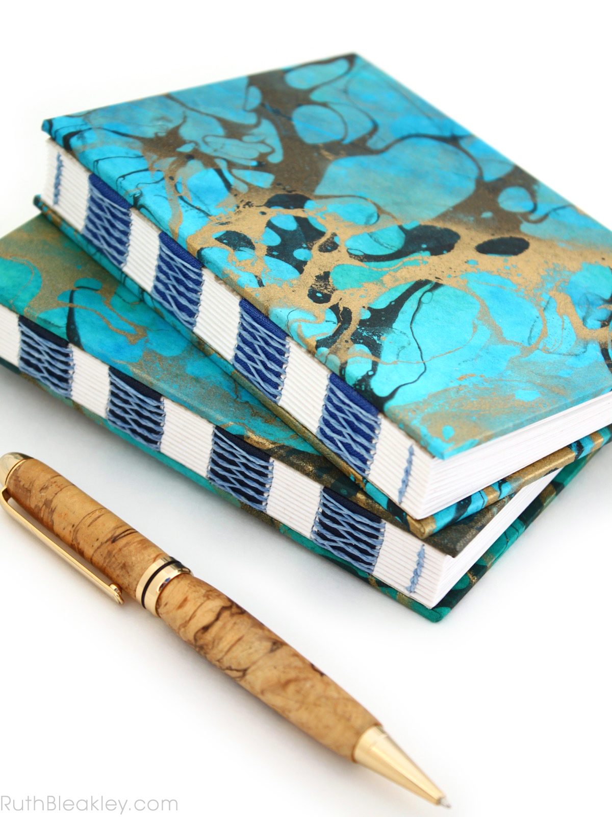 Blue and Gold Marbled Unlined Journal by book artist Ruth Bleakley - 15