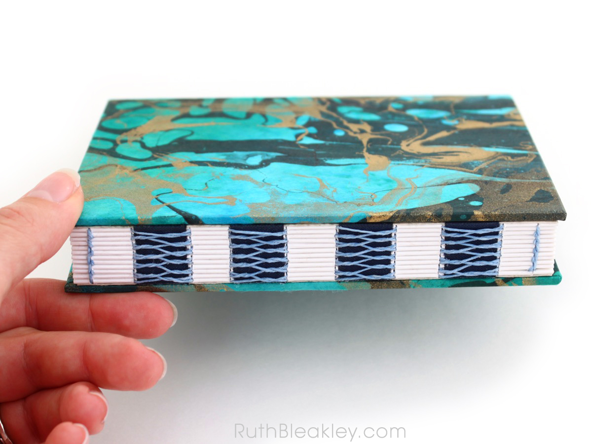 Blue and Gold Marbled Unlined Journal by book artist Ruth Bleakley - 4