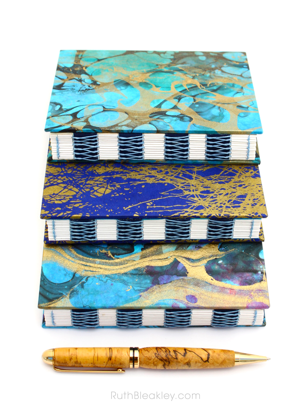 Colorful marbled French Link Journals handmade by Florida book artist Ruth Bleakley - 1