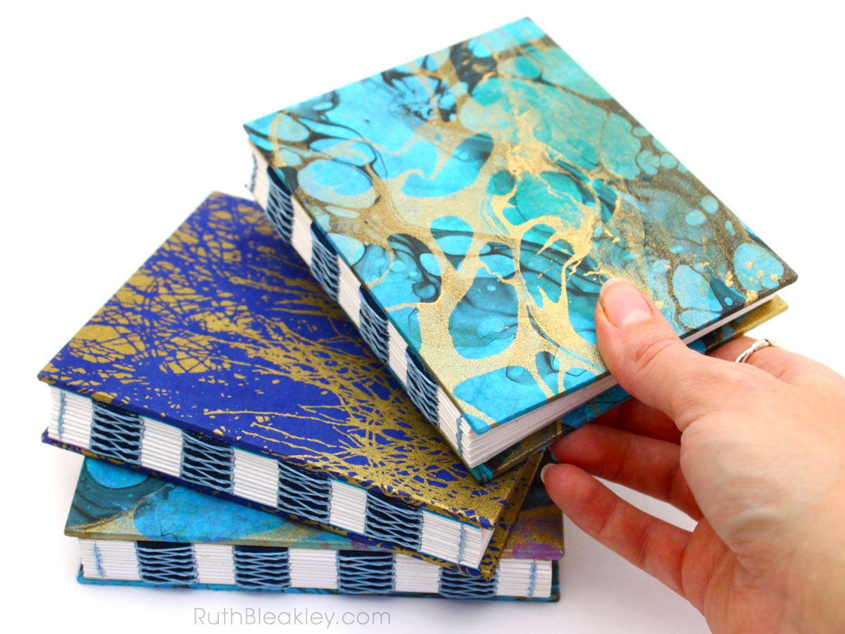 Colorful marbled French Link Journals handmade by Florida book artist Ruth Bleakley - 5