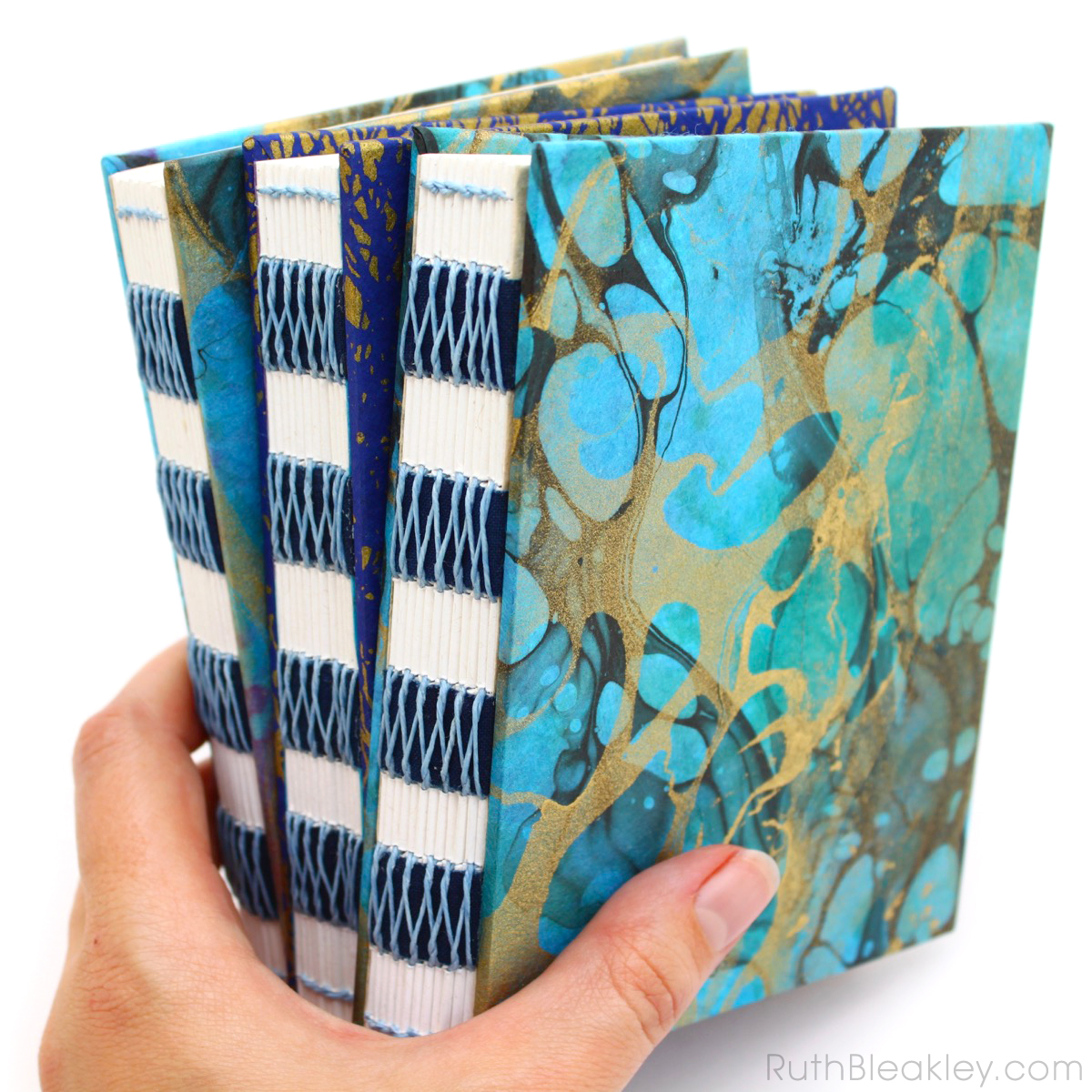 Colorful marbled French Link Journals handmade by Florida book artist Ruth Bleakley - 6