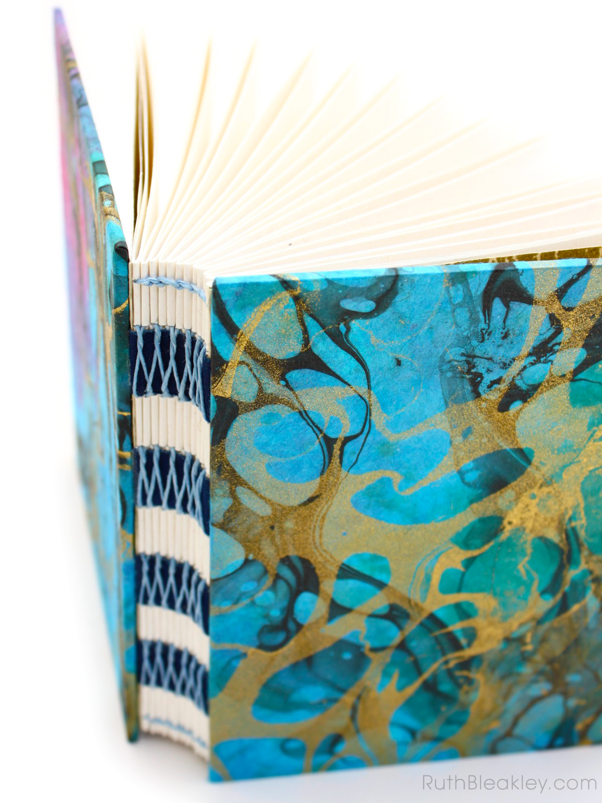Marbleized French Link Unlined Journal handmade by Florida book artist Ruth Bleakley - 1
