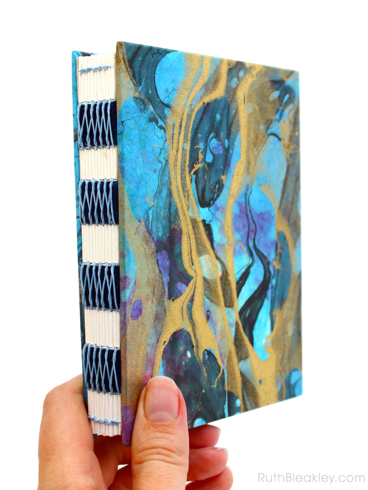 Marbleized French Link Unlined Journal handmade by Florida book artist Ruth Bleakley - 2