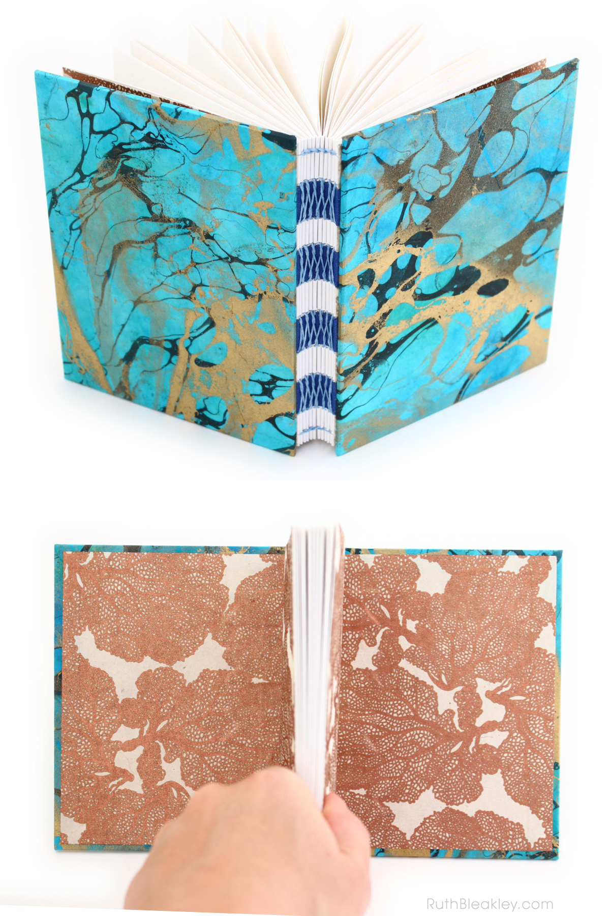 Unlined Handmade Journal with Blue Marbled Covers by Ruth Bleakley