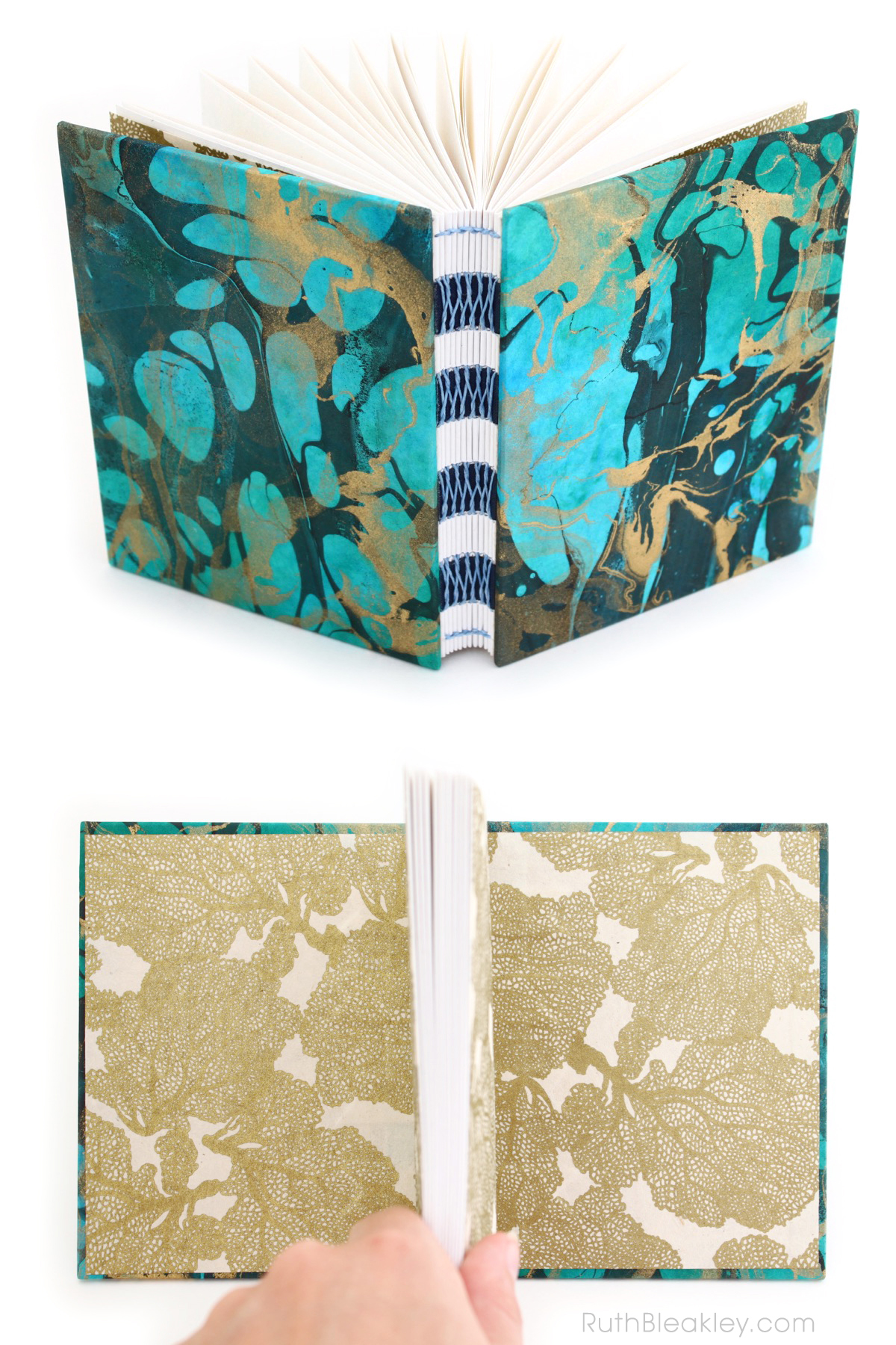 Unlined Handmade Journal with Marbled Covers by Ruth Bleakley