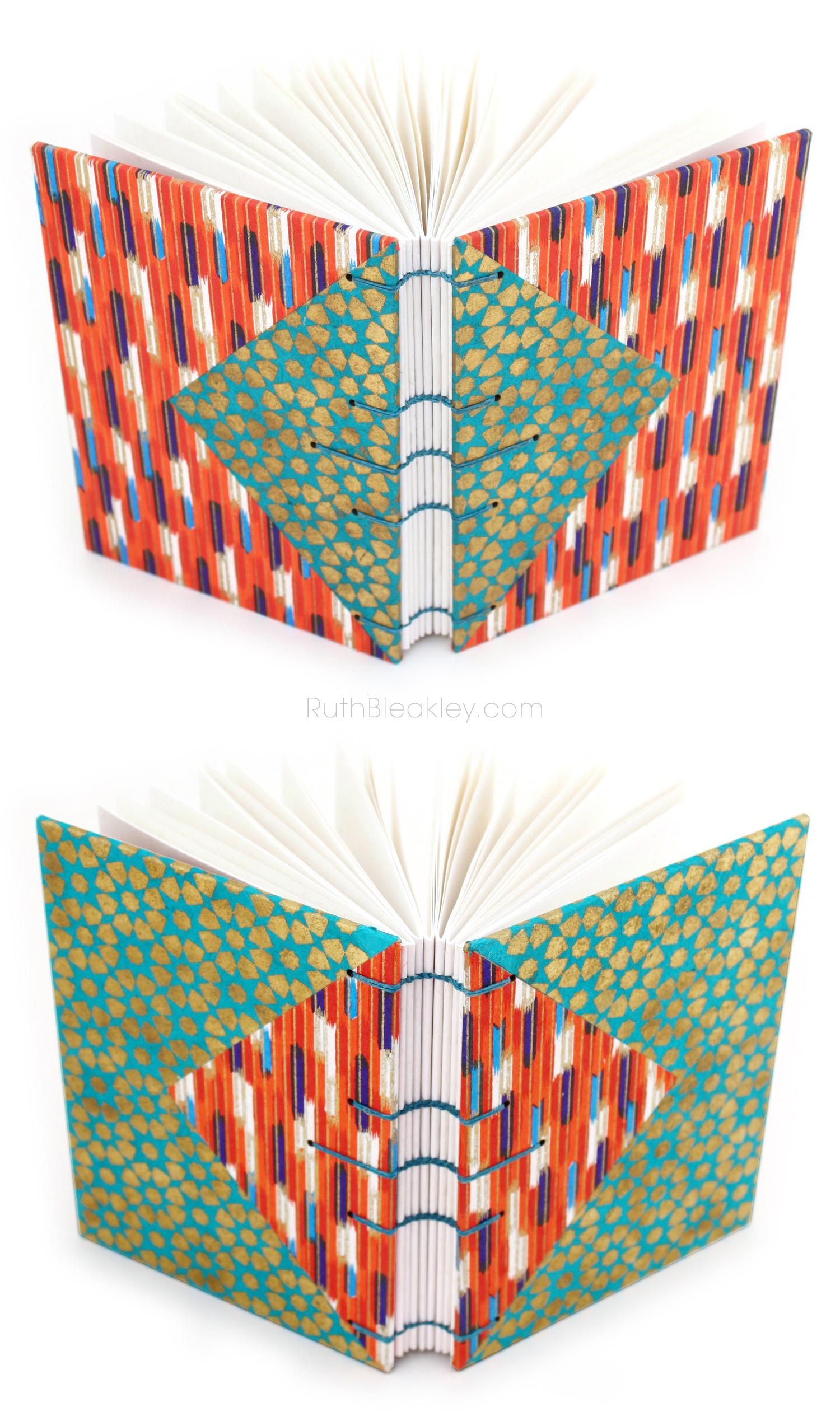 Aqua and Orange Twin Journals handmade by Ruth Bleakley