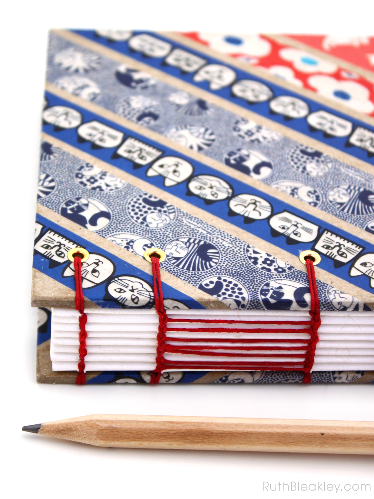 Blue and Red Cat Washi Tape Journal handmade by Ruth Bleakley - 3