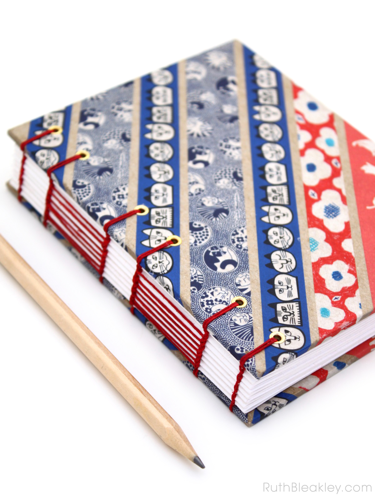 Blue and Red Cat Washi Tape Journal handmade by Ruth Bleakley - 4