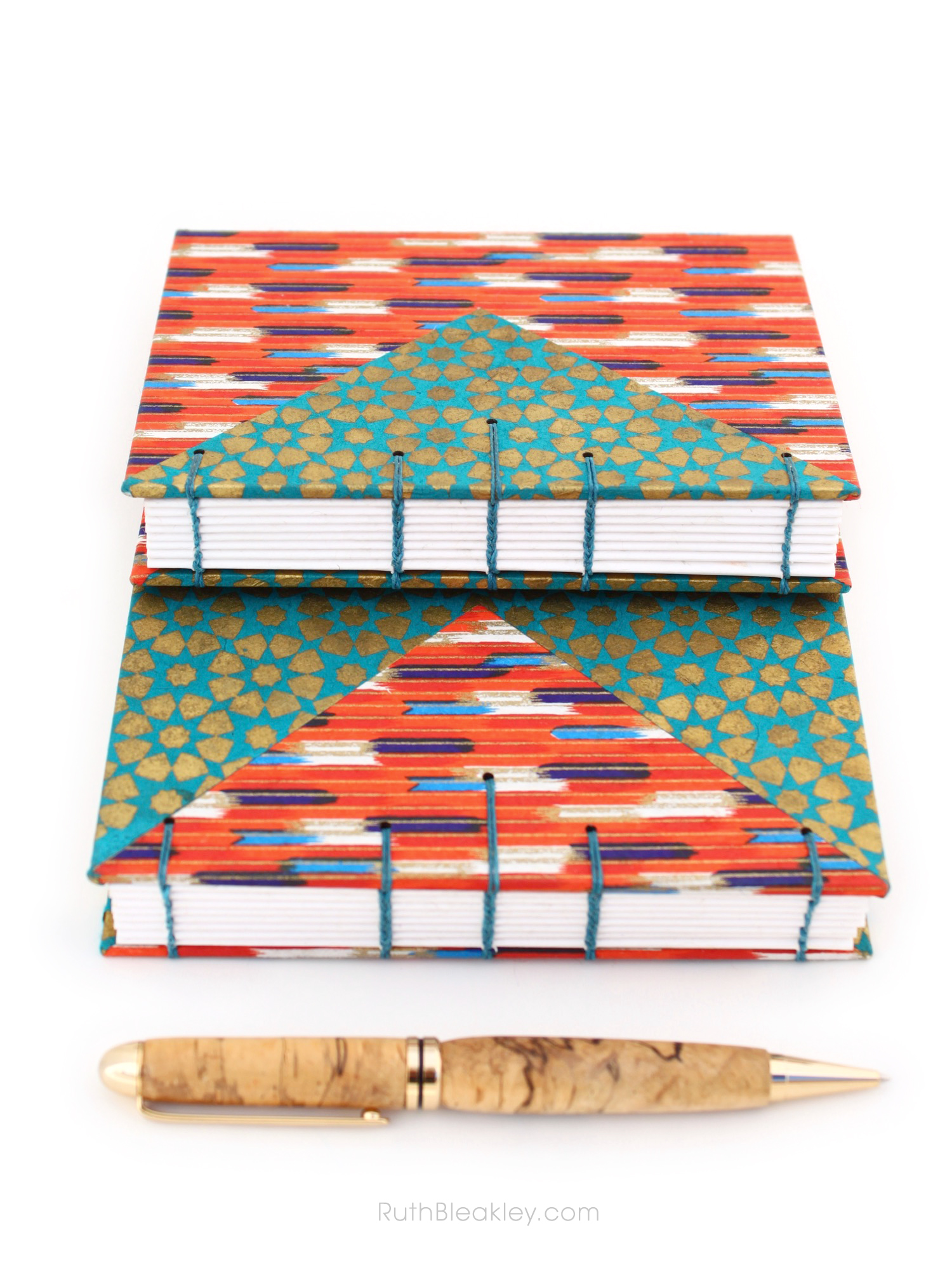 Chiyogami Twin Journals with Colorful Triangle Inlays handmade by Ruth Bleakley - 13