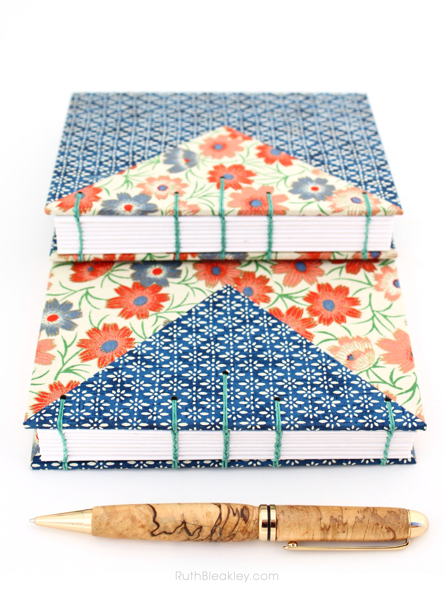 Chiyogami Twin Journals with Colorful Triangle Inlays handmade by Ruth Bleakley - 22