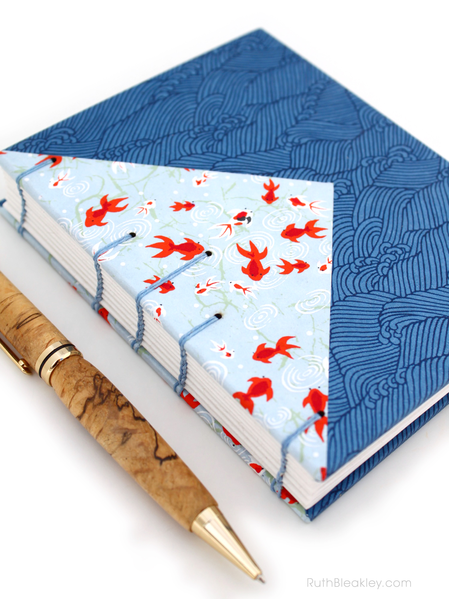 Chiyogami Twin Journals with Colorful Triangle Inlays handmade by Ruth Bleakley - 28