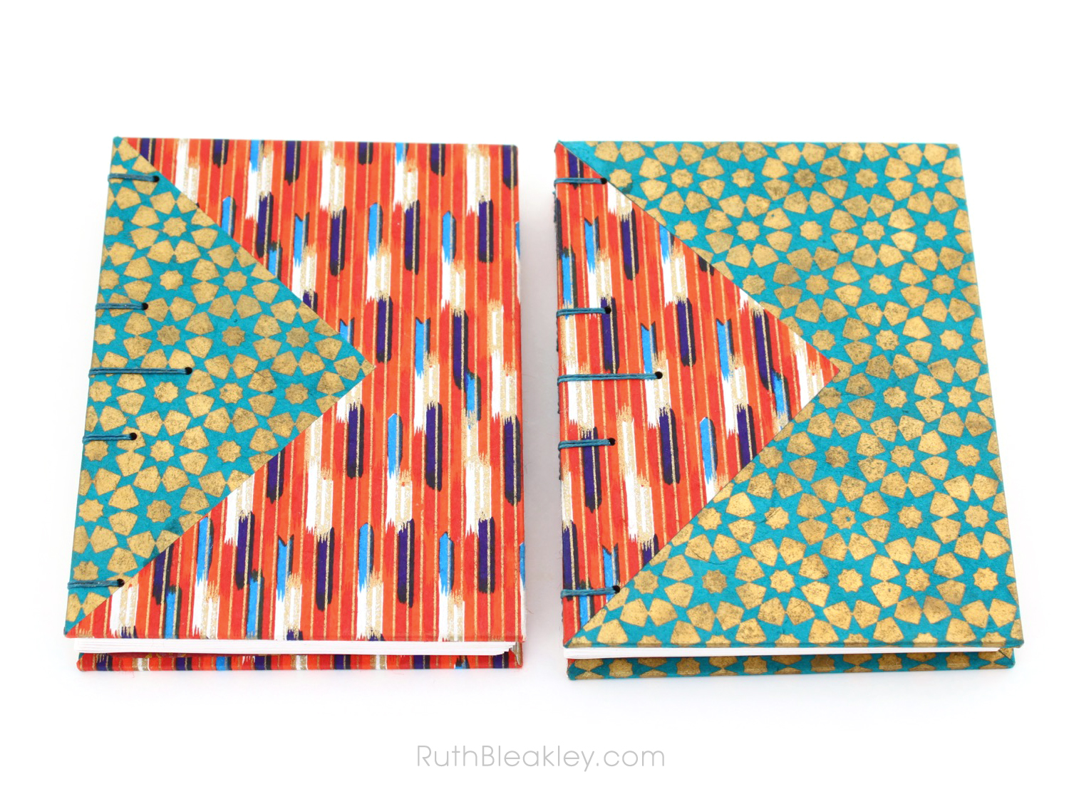 Chiyogami Twin Journals with Colorful Triangle Inlays handmade by Ruth Bleakley - 8
