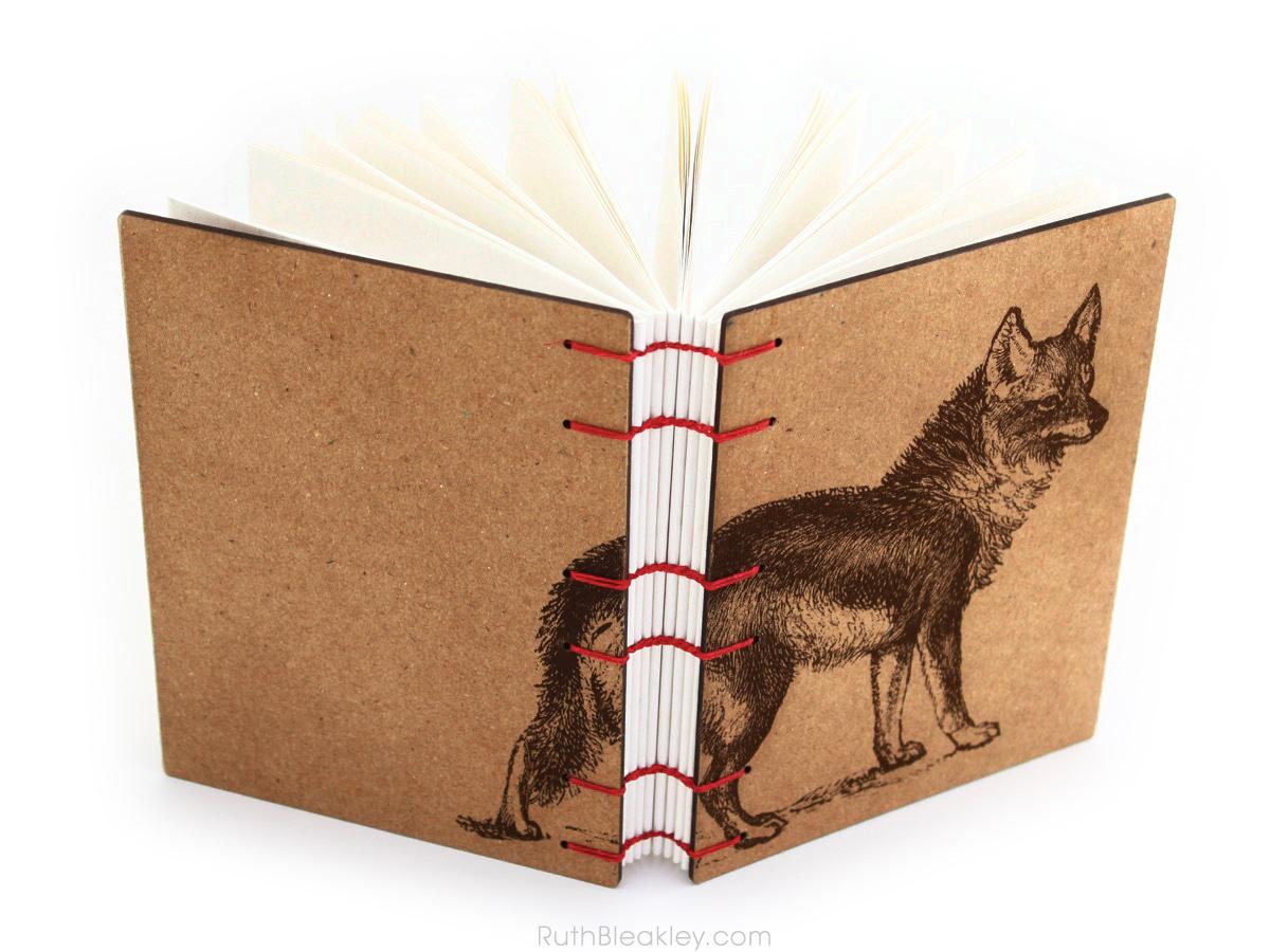 Coyote Wolf Journal handmade by American book artist Ruth Bleakley - 3