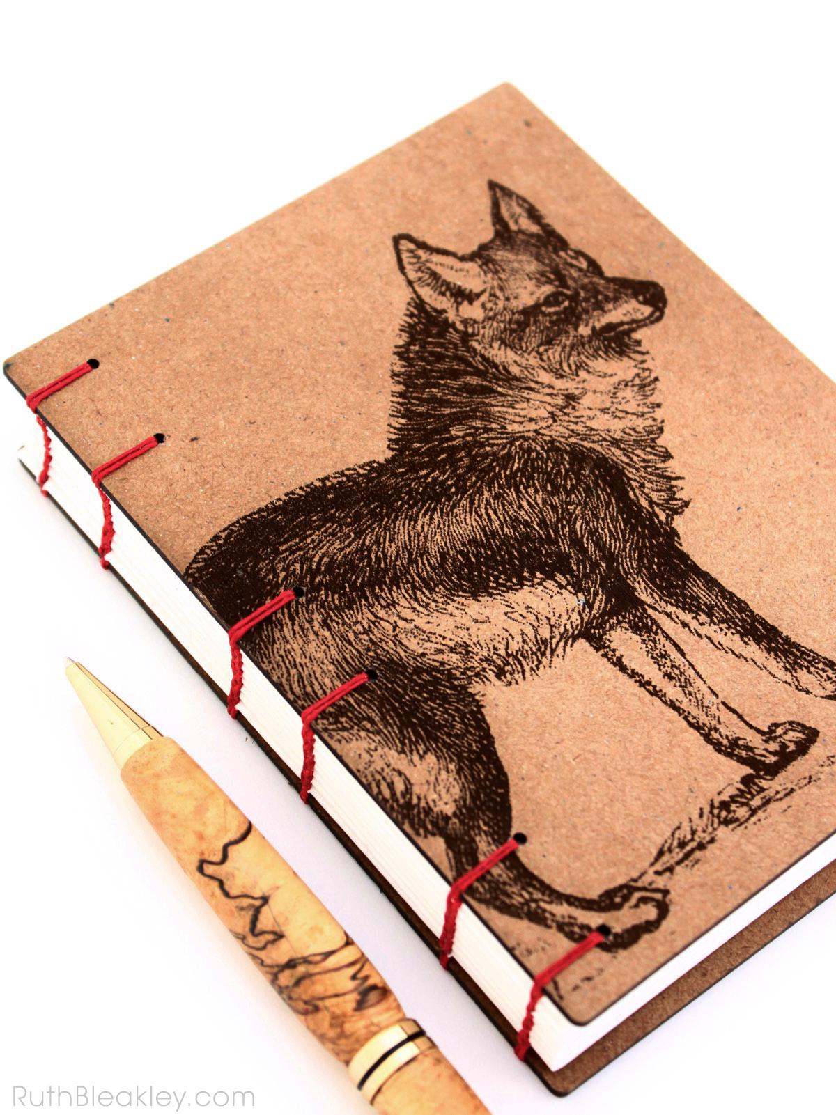 Coyote Wolf Journal handmade by American book artist Ruth Bleakley - 5