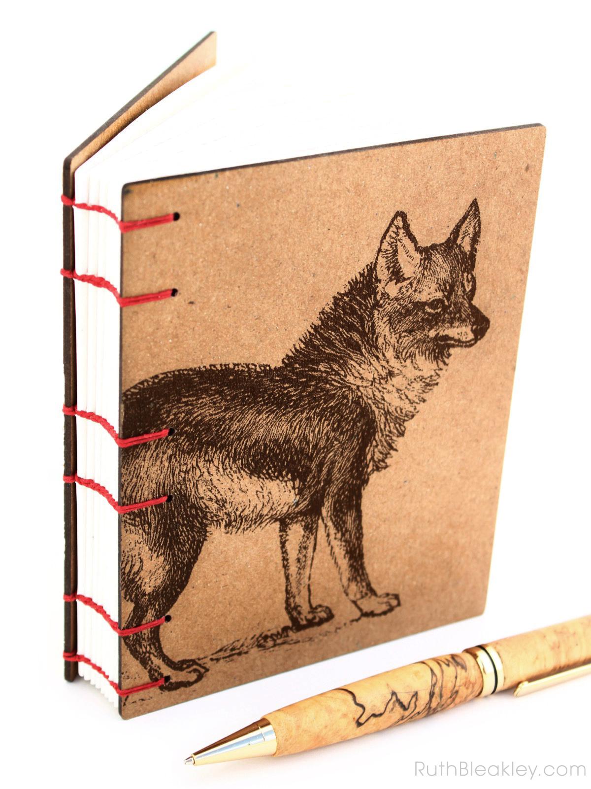Coyote Wolf Journal handmade by American book artist Ruth Bleakley - 6