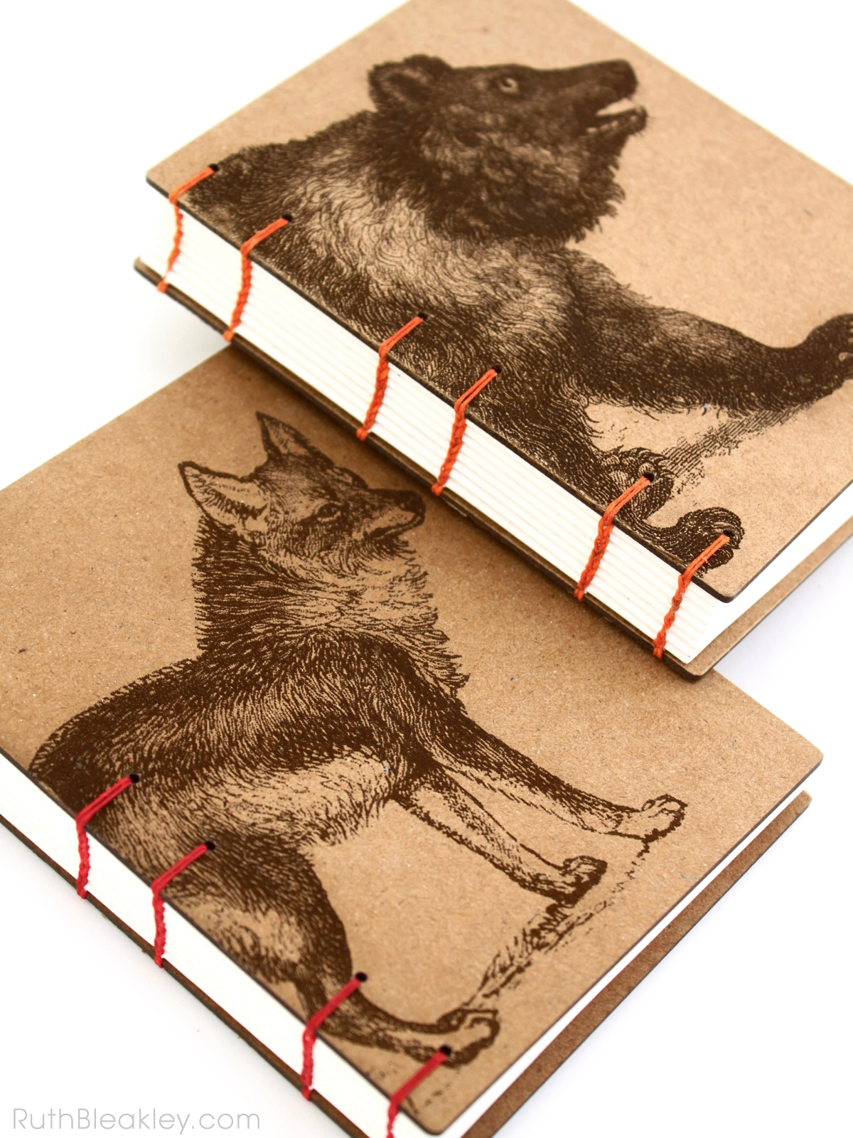 Coyote and Bear Journals handmade by American book artist Ruth Bleakley - 1