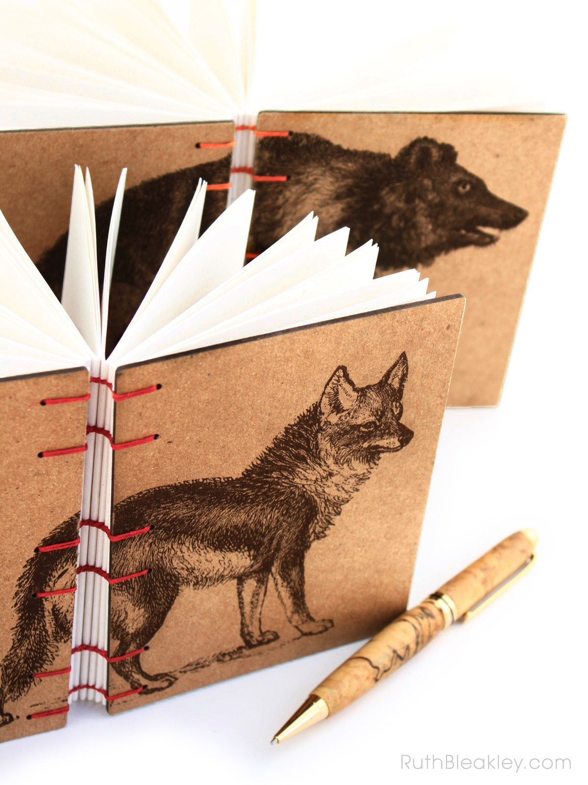 Coyote and Bear Journals handmade by American book artist Ruth Bleakley - 4