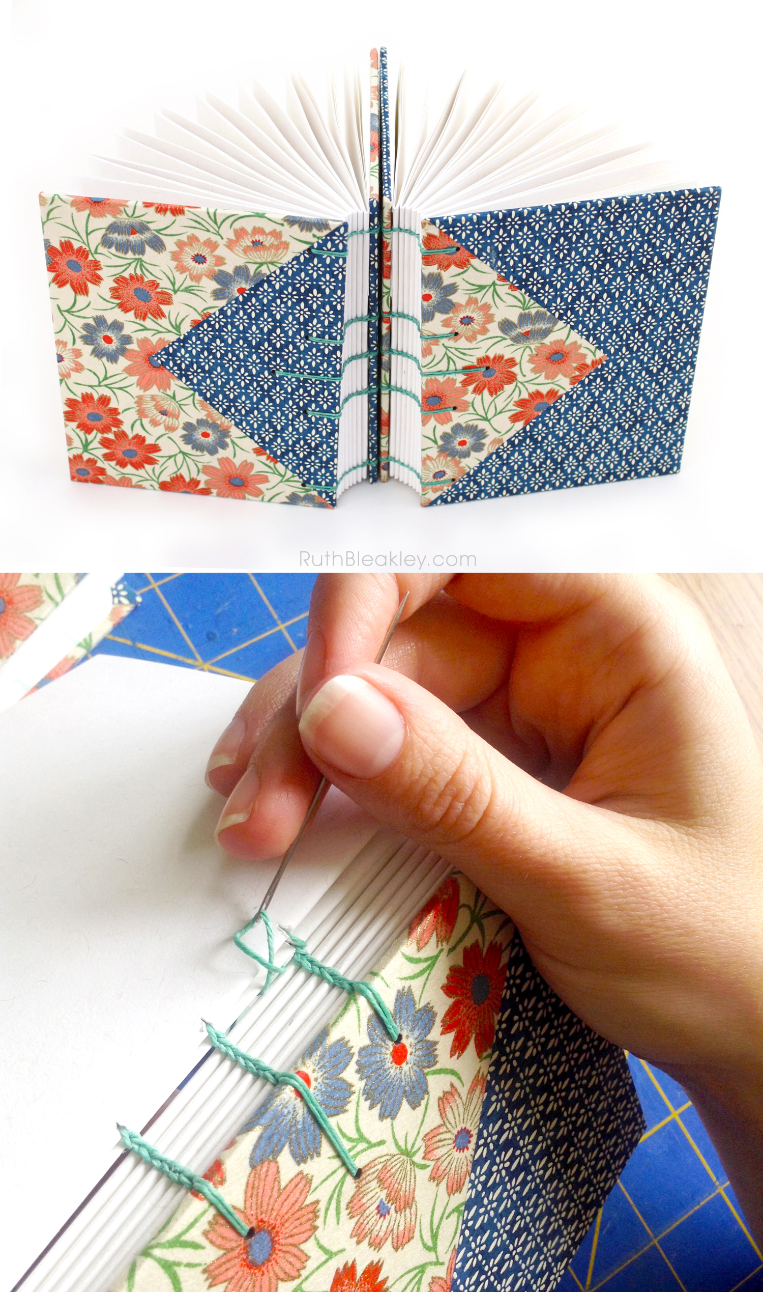 Hand Stitched Journals - these journals are twins and us the same paper - made by Ruth Bleakley