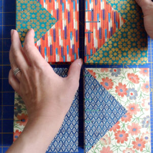 Making Chiyogami Twin Journals with Colorful Triangle Inlays handmade by Ruth Bleakley - 4