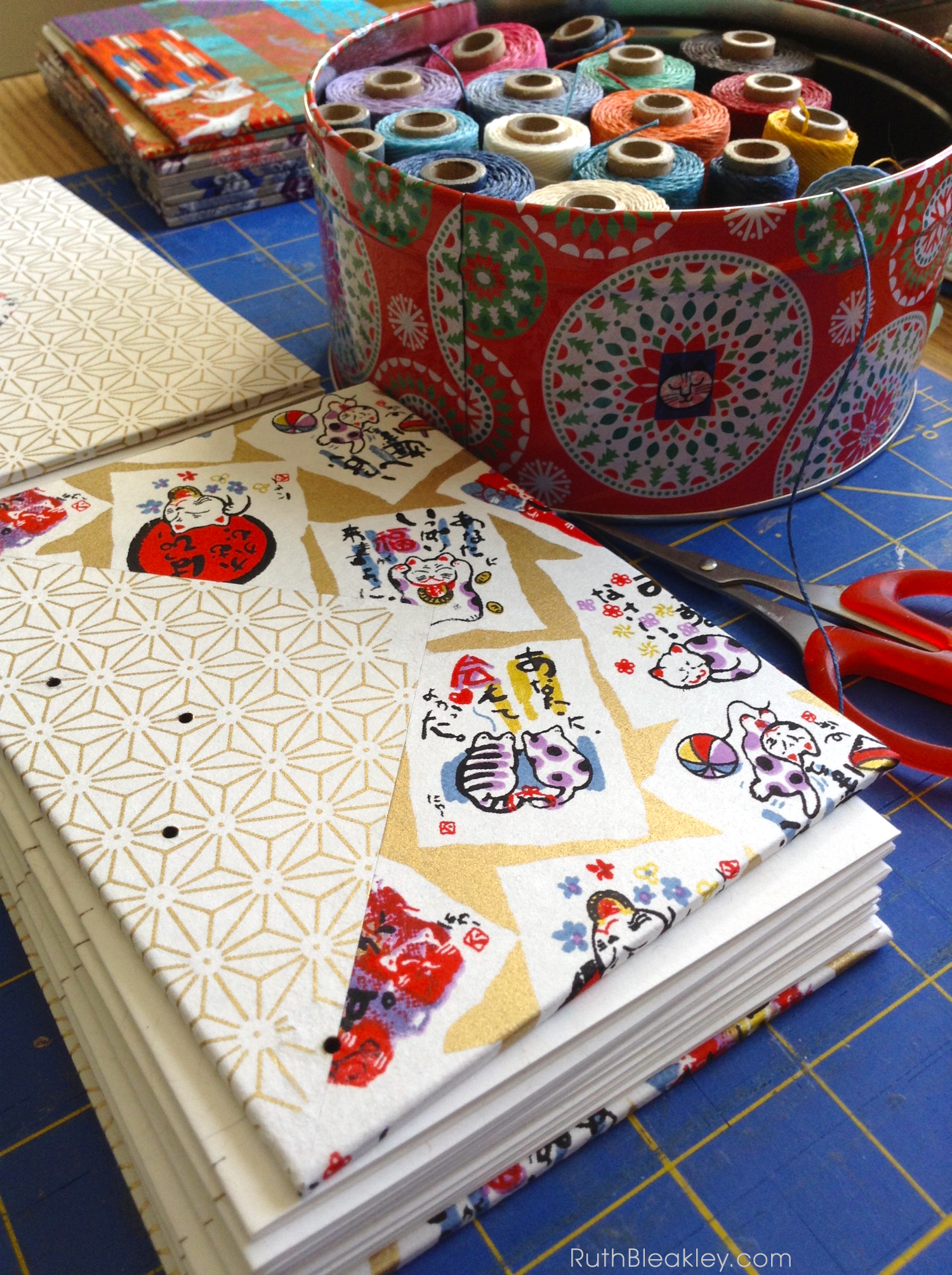 Making Chiyogami Twin Journals with Colorful Triangle Inlays handmade by Ruth Bleakley - 6