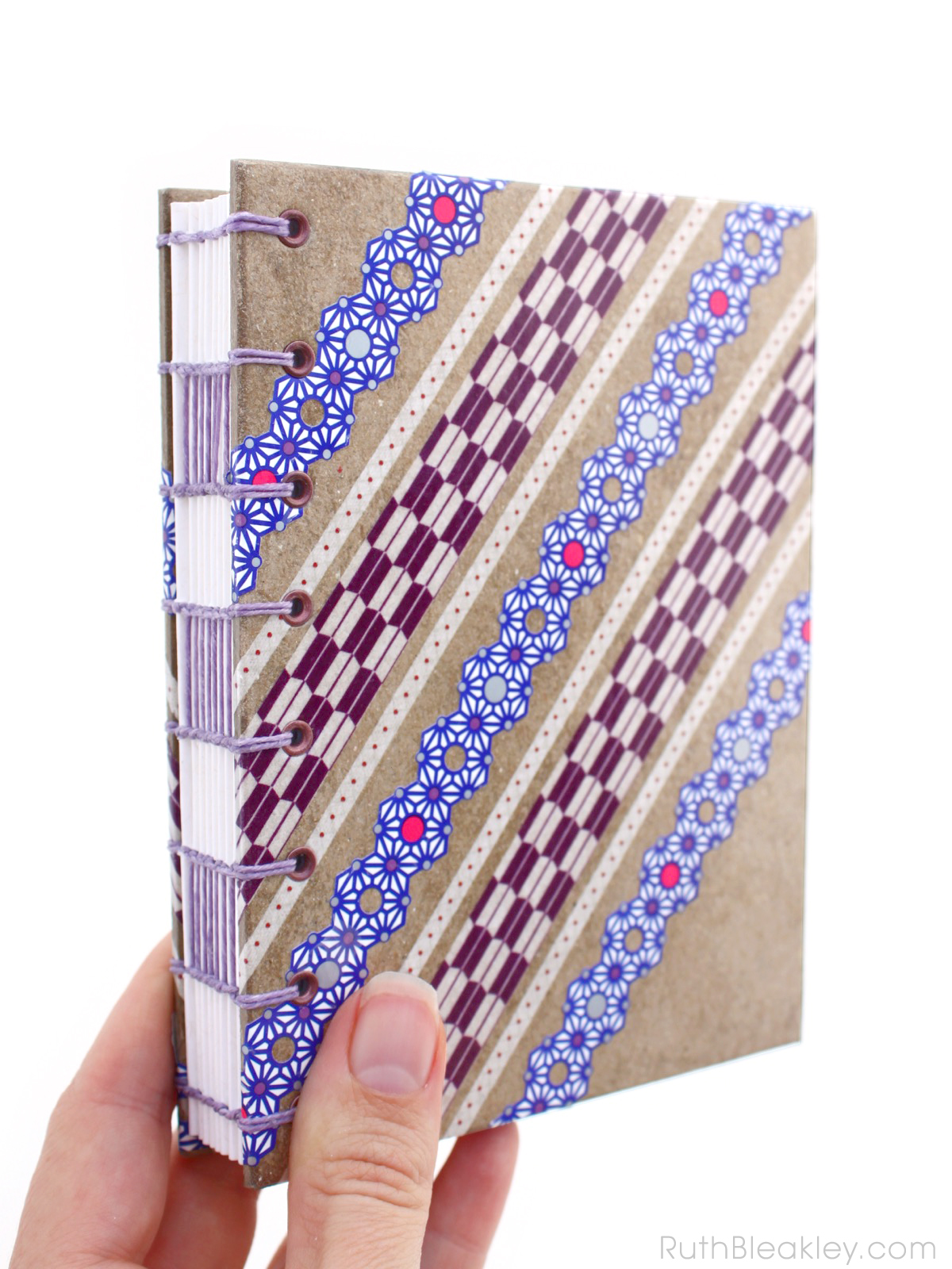 Purple and Blue Lace Washi Tape Journal handmade by Ruth Bleakley - 1