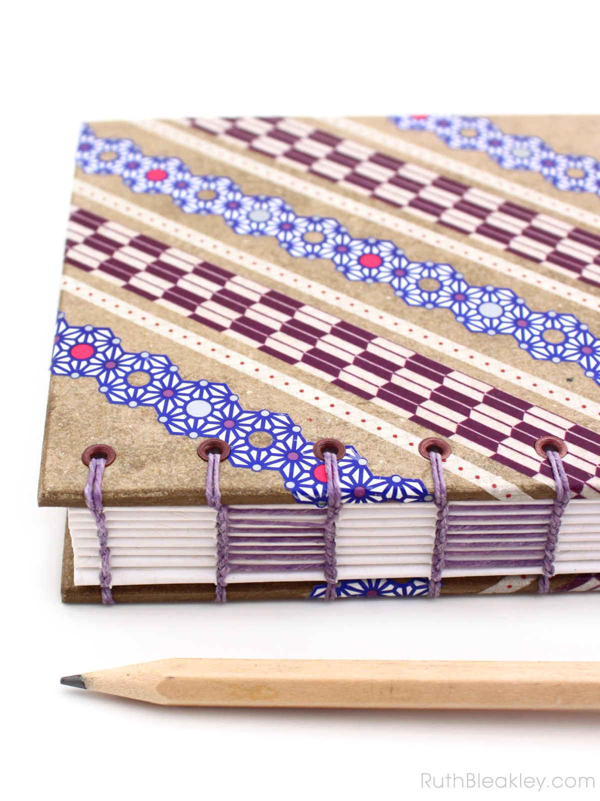 Purple and Blue Lace Washi Tape Journal handmade by Ruth Bleakley - 3