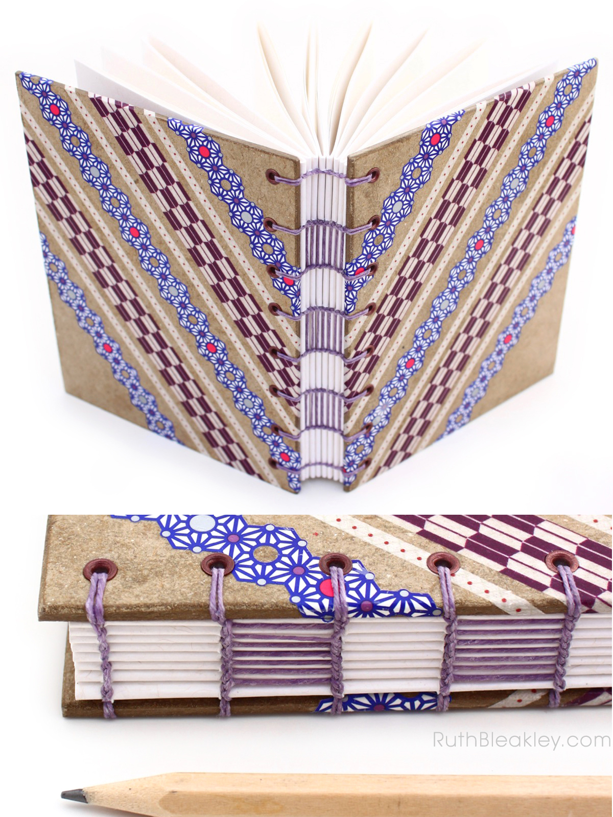 Purple and Blue Lace Washi Tape Journal handmade by Ruth Bleakley - 7