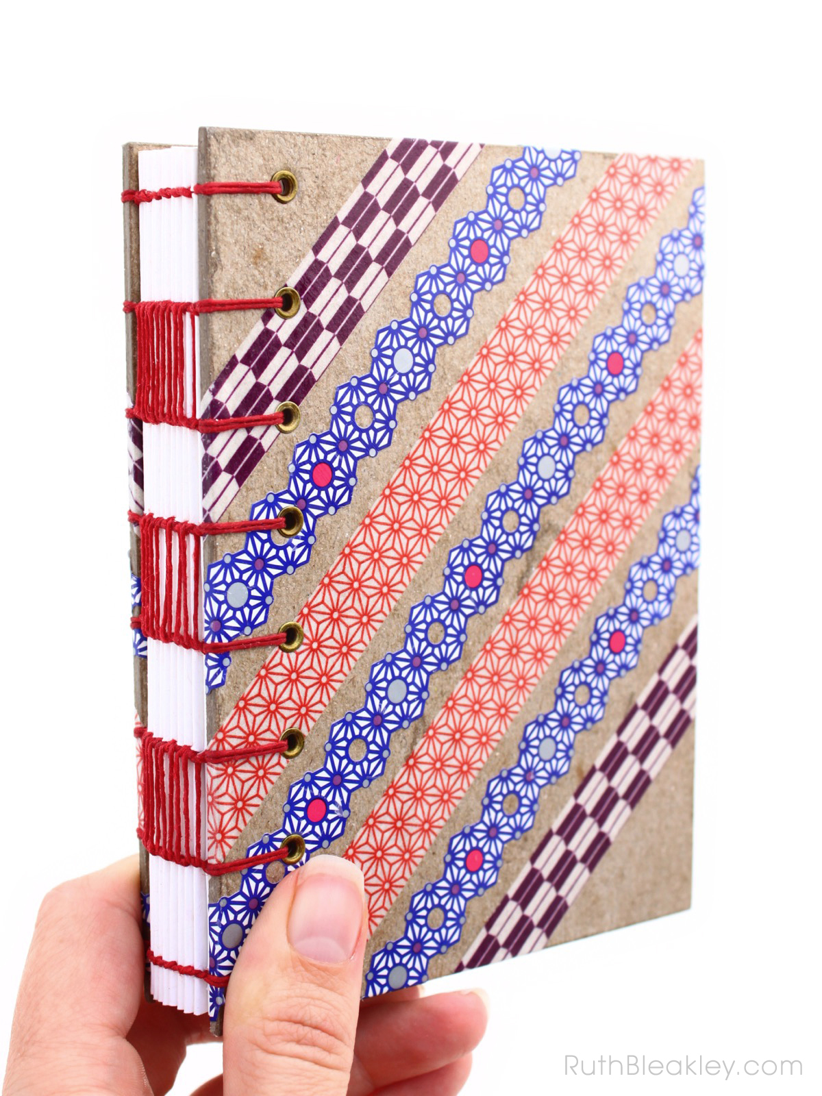 Red Blue and Purple Washi Tape Journal handmade by Ruth Bleakley - 1