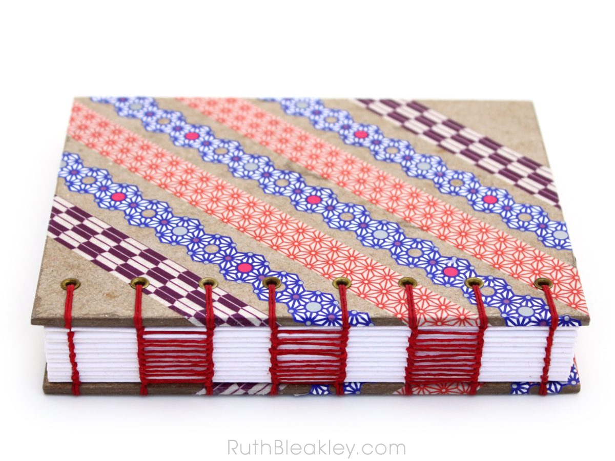 Red Blue and Purple Washi Tape Journal handmade by Ruth Bleakley - 2
