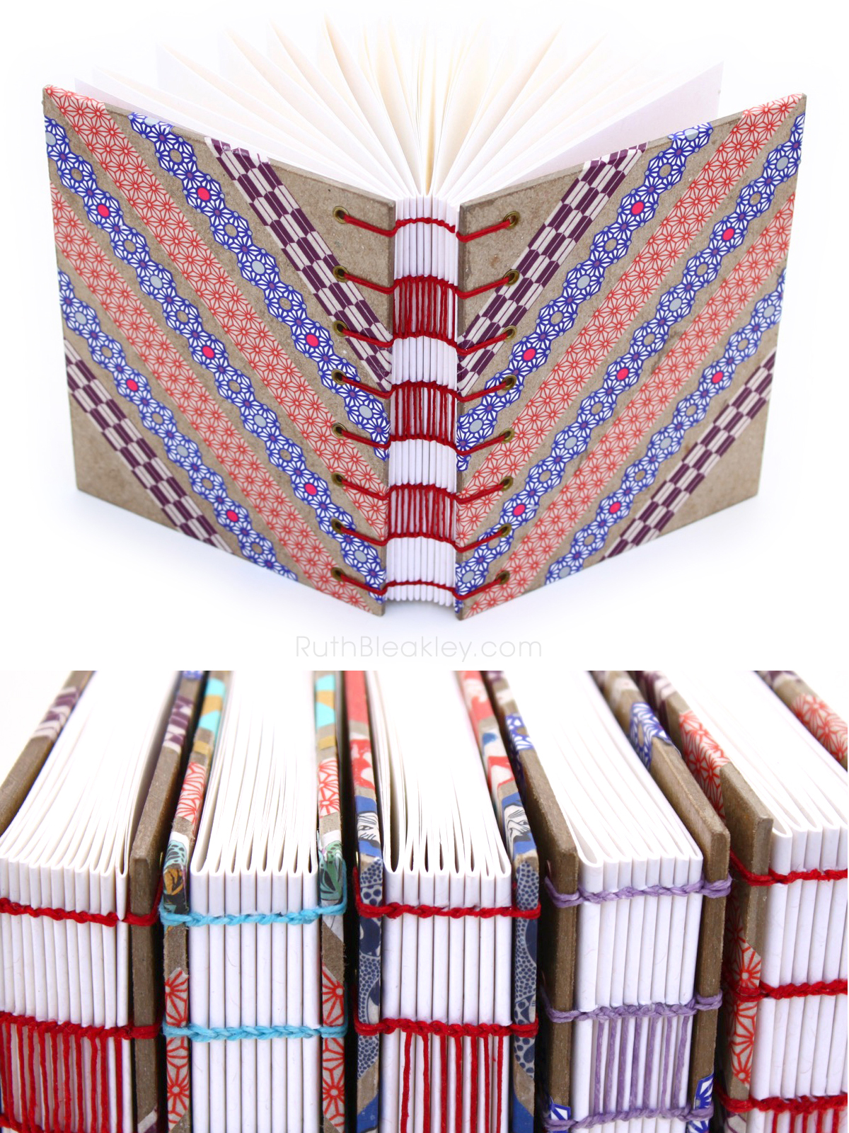 Red Blue and Purple Washi Tape Journal handmade by Ruth Bleakley - 6